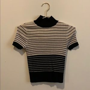 Striped mock neck cropped sweater shirt
